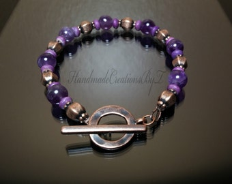 Amethyst & Copper Toggle Bracelet, Purple Gemstone Jewelry, Womens Fashion