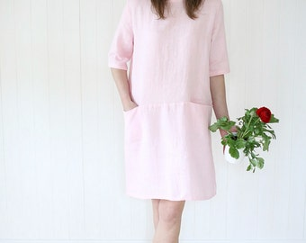 Casual Linen Dress With Two Hidden Pockets | Washed Soft Linen Dress | Tunica Dress | Women Dress | Soft Washed Linen Dress | Midi Dress |