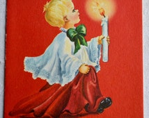 Vintage Christmas Card  - Choir Boy and Candle - Unused Ellen Red Farm Studio
