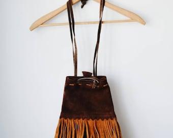 SALE 70s suede fringe drawstring bag