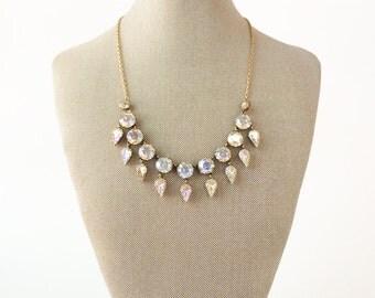 Art Deco Necklace, Bridal Necklace, Vintage Necklace, Gold Necklace, Aurora Borealis Necklace, Crystal Necklace, Wedding Necklace, Statement