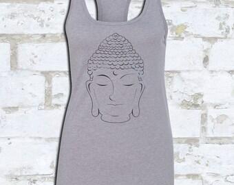 BUDDHA TANK FOILED in Metallic Black | Metallic Yoga Tank