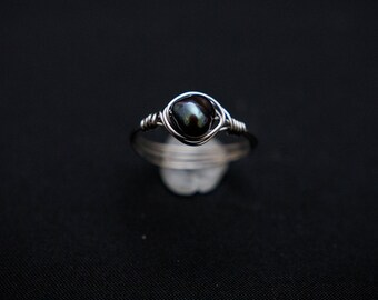 Black Pearl Wire Wrap Ring