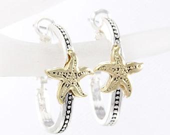 Starfish Hoop Two Tone Earrings