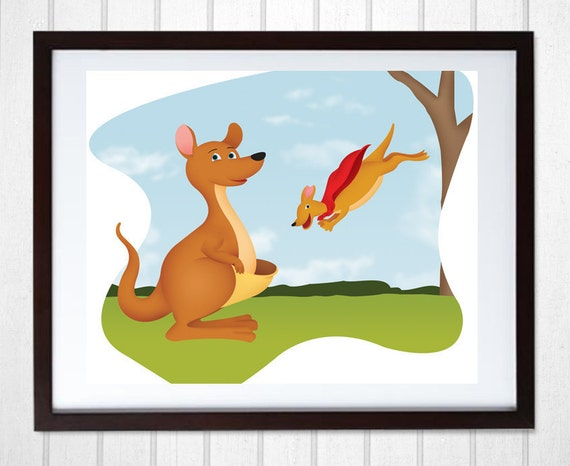 Mother And Baby Gifts Australia : Kangaroo wall art for kids mother and by shannariehlart pe