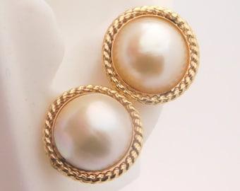 Ladies 13mm Mobe Pearl Earrings 14K Yellow Gold