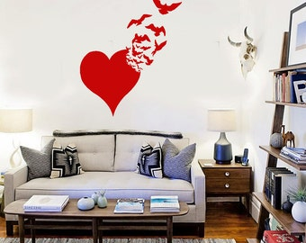 Vinyl Wall Decal Love Heart Birds Abstract Romance Stickers Art (ig2466)