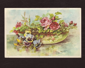 Watercolor painting of pansies and roses in a bowl, Belgian postcard - Flowers, antique postcard, vintage greeting card - 1962 (B838)