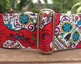 "Martingale Collar - Whippet, Greyhound, small to medium dog - 1.5"" and 2"" - Day of the Dead on Red"