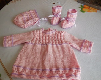 WHOLE dress jacket and booties - baby 3 months. hand knitted