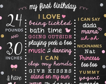 Pink Birthday Chalkboard - Baby Girl Birthday Decoration - 1st Birthday Party Sign - Birthday Photo Props - Nursery Art - 1st Bday Girl