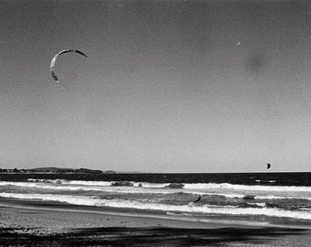 beach picture of kite - beautiful ocean pictures of waves - Australia photo - surf photography - black and white print - coastal home decor