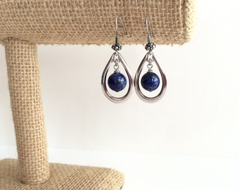 Lapis lazuli earrings, silver hoop, blue lapis earrings. Silver tear drop hoops, teardrop hoop earings. Rhodium earrings, blue tear drops