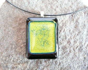 Hand Made Fused Glass Pendant Necklace, Dichroic Glass Pendant Necklace