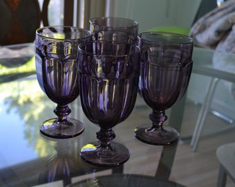 Gorgeous Vintage Purple Lavender Drinking Goblets Glasses – Large Size pp663