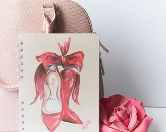 Pink notebook, Shoe art, Fashion notebook, Girly notebook, Gift for her, Cute office, Fashion stationery, Illustrated notebook, Fashionista