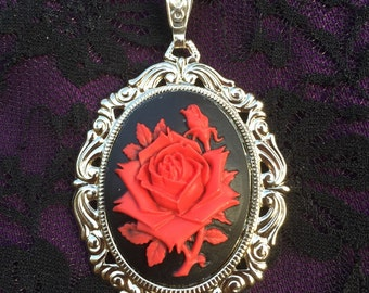 Everything's Coming Up Roses Cameo Pendant Necklace