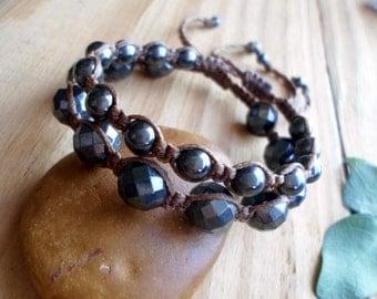 Hematite macrame bracelet, shamballa bracelet, healing jewelry, boho bracelets, macrame stone, beaded bracelet, macrame jewelry, macrame set