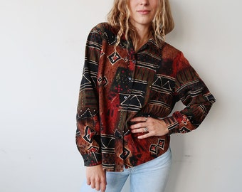 SALE! Slouchy African Patterned Long Sleeve Blouse