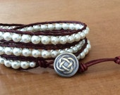 CatMar Beaded Pearl Wrist Wrap Bracelet on Brown Greek Leather Cord with Button/Loop Closure