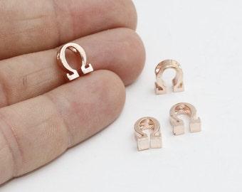 1 Pcs Rose Gold Omega Letter, Omega Letter, Greek Letters, Omega Jewelry, Greek Alphabet, Omega Charm ,ROSE367