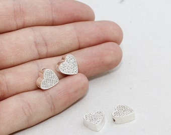 10mm Micro Pave Heart Pendant, Silver Plated Heart Charms, initial Pendant, Cubic Zirconia Heart , Heart Necklace, Heart Charms , zrcn155