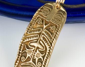 Maori Tribal Ancestor Shield Bronze Surfer Pendant - Necklace - Keyring - Maori Tribal Warrior Shield Pendant -  New Zealand Bronze Pendant