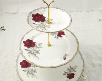 "Three Tier Cake Stand Made from Royal Stafford ""Roses to Remember"" Plates, Vintage Bone China"