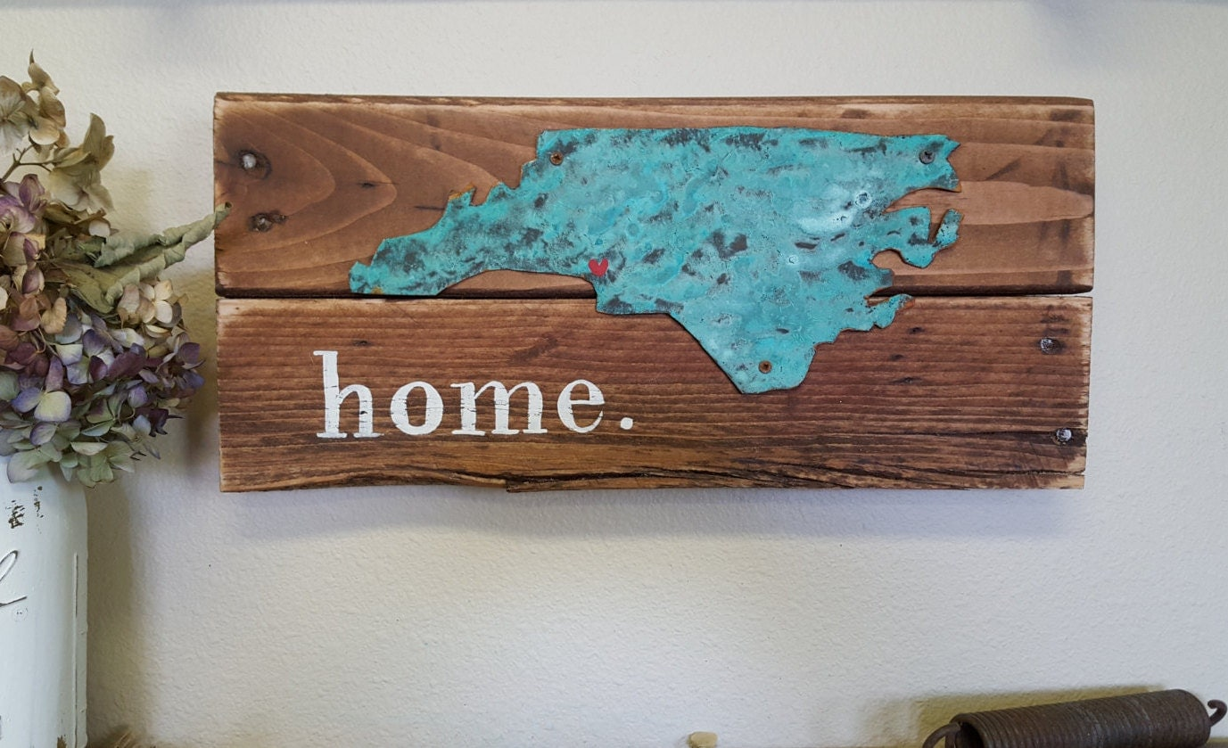Home State Sign Wooden Sign Rustic Home Decor Wood Metal