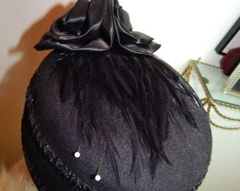 Vintage Black Feather Hat Michael Howard 100% Wool Hat 1940's 50's