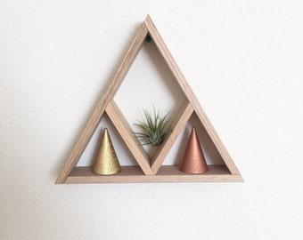 Triangle Mountain Wood Shelf, Modern Geometric Shelf, Home Decor