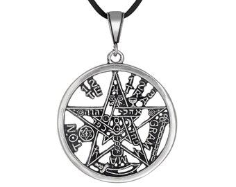 Sterling Silver .925 Tetragrammaton Pentagram Pagan Wiccan Charm Pendant, Oxidized | Made in USA