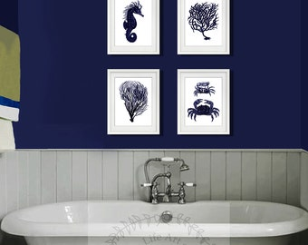 Dark Navy Blue And White Wall Art Set Of 4 Sea Coral, Seahorse, Crab