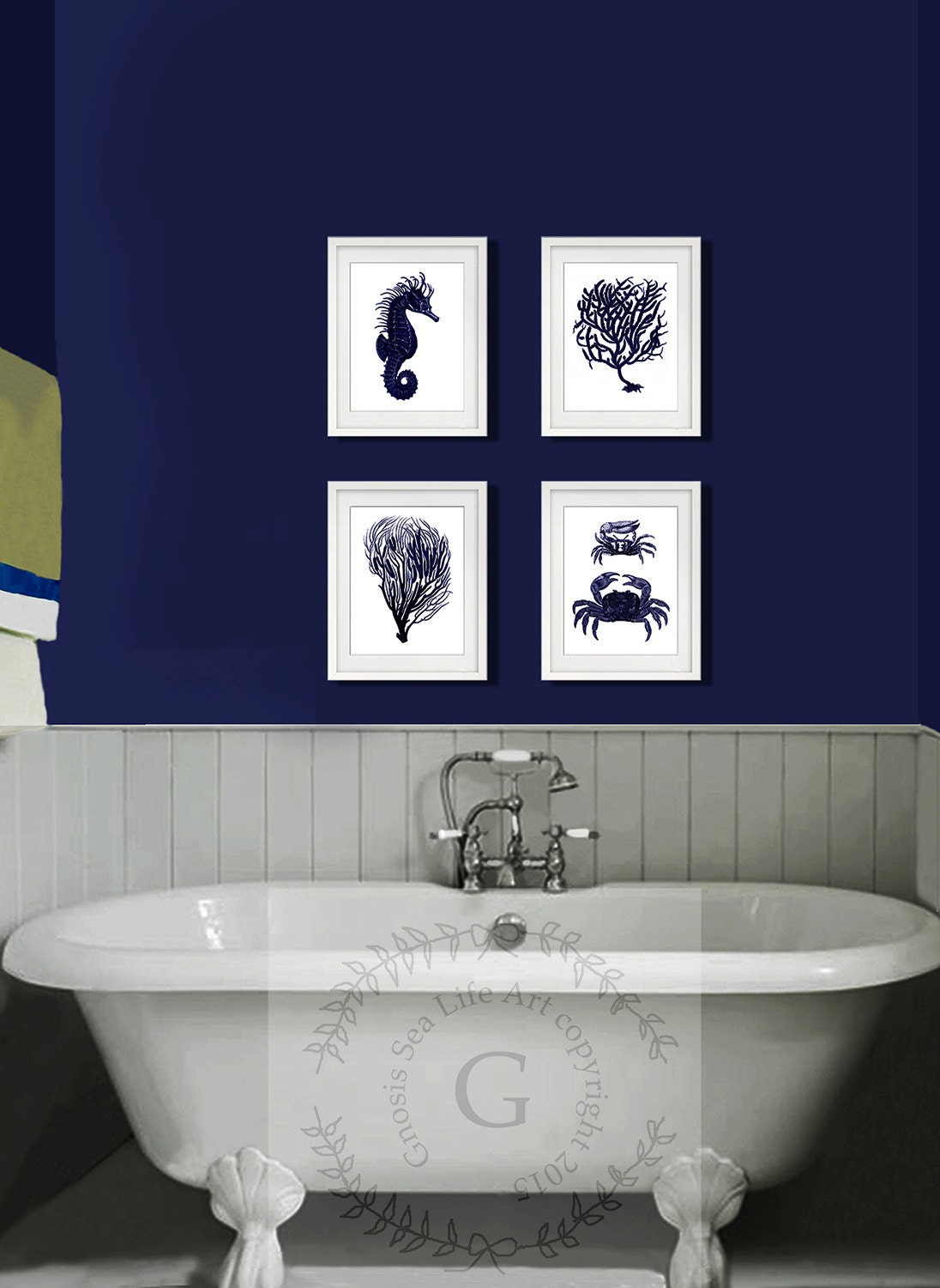 dark navy blue and white wall art set of 4 sea coral. Black Bedroom Furniture Sets. Home Design Ideas