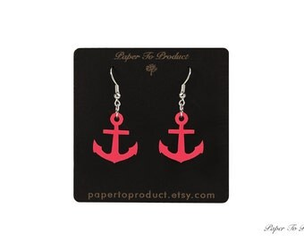 Wood Earrings Pink Laser Cut Anchor Wood Earrings