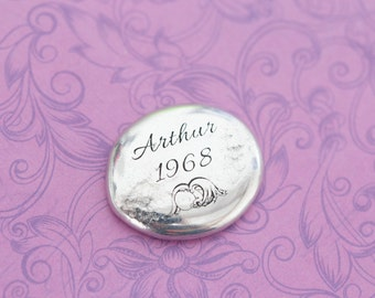Memorial Pocket Stone - Angel Baby - Pewter Pebble - Miscarriage Remembrance - Pocket Token - Fairy Garden Stone