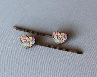 Retro Hair Pins - Confetti Hearts Cabochon - Bronze Hair Pins - Retro Hair Accessory