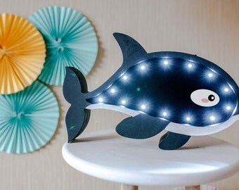 Nautical nursery Nautical decor Night light Orca Light Marquee lights  Gift idea for babyshower Best gift for baby Present for a babyshower