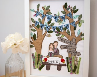 Personalised Wedding framed picture, unique gift for the newly married couple