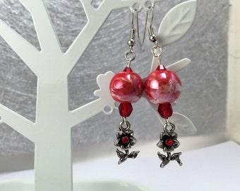 Earrings, little flower, red ref 760