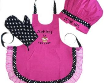 Personalized Custom Pink Lil Cupcake Apront Set w/Hat & Mitt