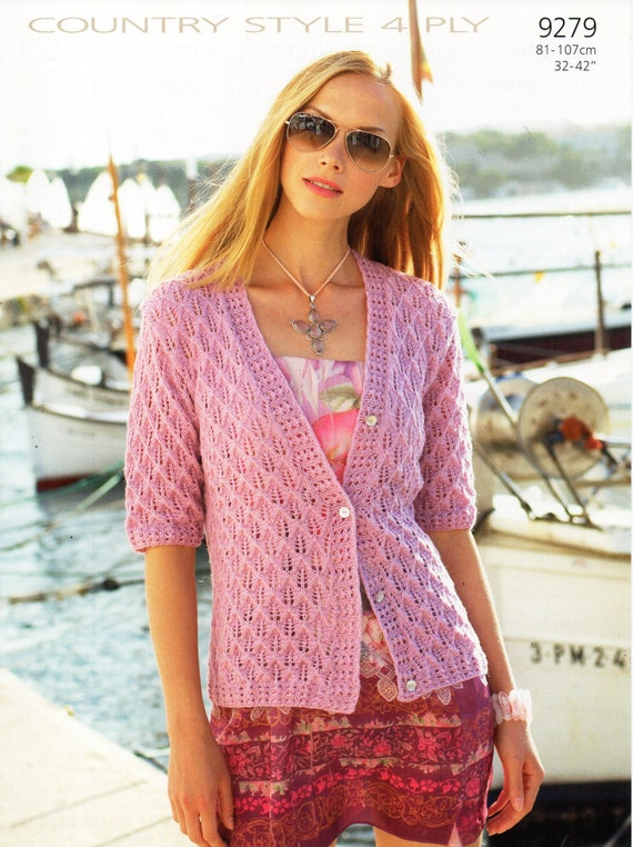 womens cardigan knitting pattern lacy cardigan short sleeve