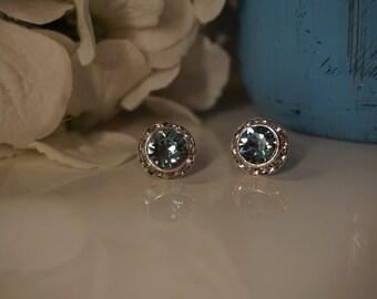 Aquamarine Champagne 13mm Crystal Chaton Post Earrings