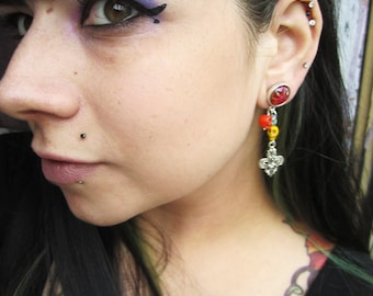 "Day of the Dead Turquoise Carved Skull Head Howlite EAR PLUG dangle earrings pick gauge size 2g, 0g, 00g, 1/2"" aka 6mm, 8mm, 10mm, 12mm"