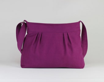 Purple Bag Small and Sweet Washable Teen Girl Purse Pleated Bag Canvas Shoulder bag Crossbody Bag Gift For Her Different Color Are Available