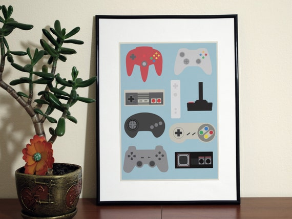 video game poster man cave art play room decor video game art gift