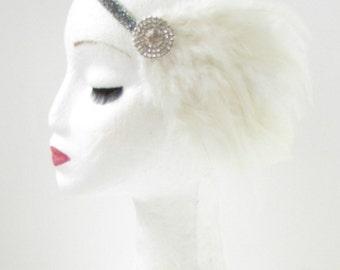 Ivory White Silver Feather Headband Great Gatsby Flapper Girl Headdress 1920 Y41