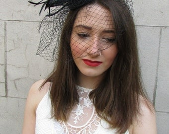 Black Birdcage Veil Feather Fascinator Hair Clip Headpiece Hat Races Vintage Z12