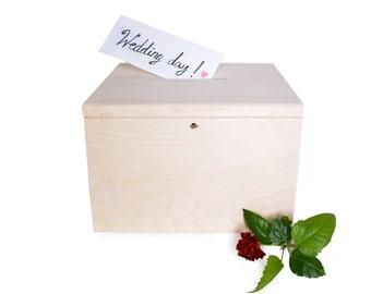 large wedding cards box with key money box bank voting urn gift box moneybox wooden unfinished DIY rustic vintage shabby wedding inspiration
