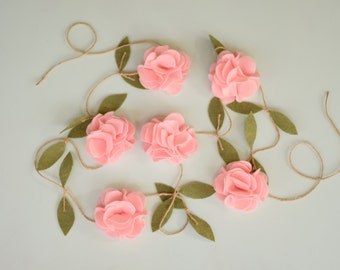 Pink Rose Garland - Felt Flower Garland - Wedding Ceremony Backdrop - Nursery Floral Decor